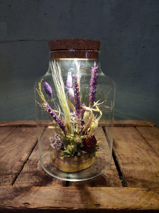 Droogbloemen in glas met licht