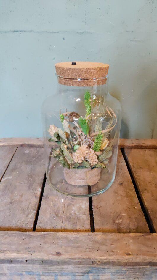 Droogbloemen in glas met licht - groen