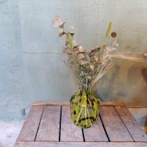 Gele cheetah vaas met droogbloemen - 19,5 cm