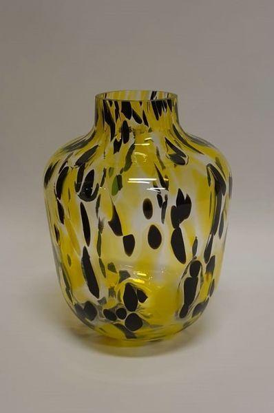 Cheetah vaas geel zwart 19,5 cm