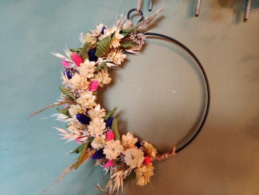 Droogbloemen krans roze paars