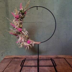 Droogbloemen op voet roze-naturel