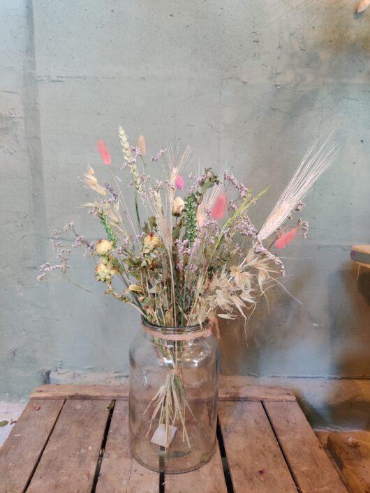 Droogbloemen met vaas 25 cm